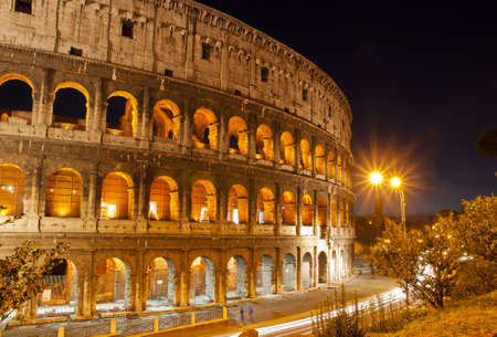 Night view of Colosseum in Rome, Italy  Stock Photo