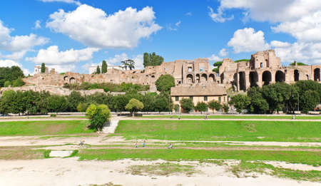 palatine: Ruins of Palatine hill palace and Circus Maximus in Rome, Italy