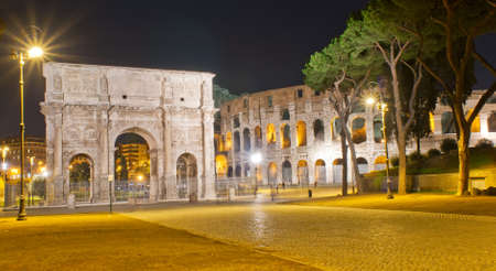 constantine: The Arch of Constantine and Colosseum in Roma  Italy
