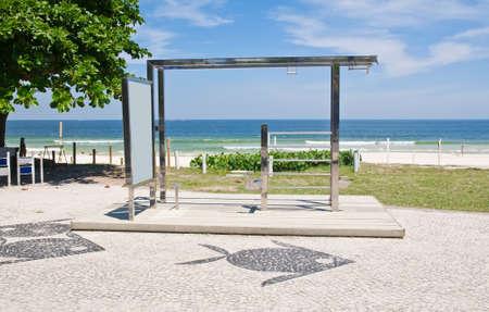 chin-up bar on Barra da Tijuca beach in Rio de Janeiro Stock Photo