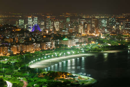 Night view of Flamengo beach and district in Rio de Janeiro