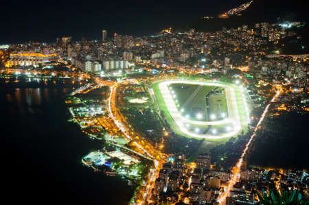 Night view of jockey club and Leblon in Rio de Janeiro photo