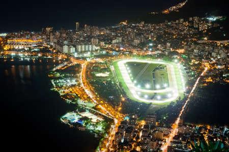 Night view of jockey club and Leblon in Rio de Janeiro