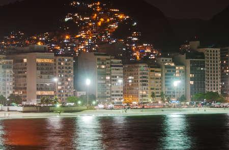 Night view of Copacabana beach in Rio de Janeiro