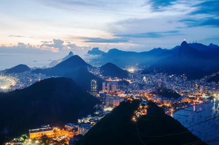 brazil beach: Night view of Botafogo and Corcovado in Rio de Janeiro