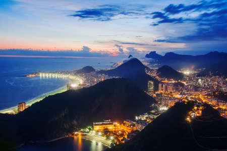 Night view of Night view of Botafogo and Copacabana beach in Rio de Janeiro