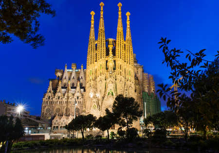uncomplete: Night view of Sagrada Familia in Barcelona Spain
