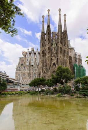 uncomplete: view of Sagrada Familia in Barcelona Spain