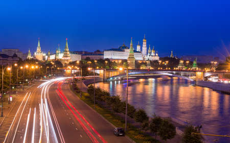 night view of Kremlin and Moscow River in Moscow, Russia  photo