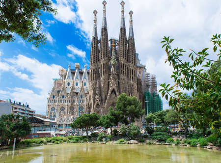 view of Sagrada Familia in Barcelona Spain
