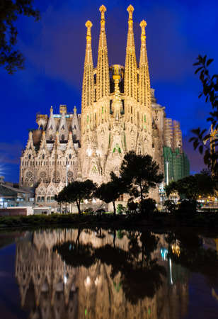 Night view of Sagrada Familia in Barcelona Spain
