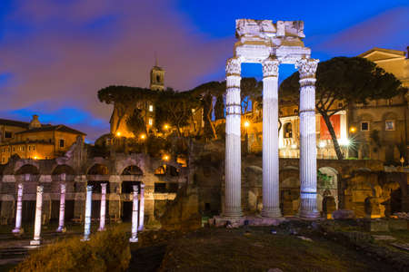 obelisc: Night view of Forum of Caesar in Rome, Italy Stock Photo