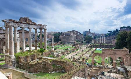 obelisc: Temple of Saturn and Forum Romanum in Rome, Italy
