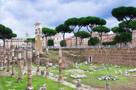 obelisc:  view of Forum of Caesar in Rome, Italy Stock Photo