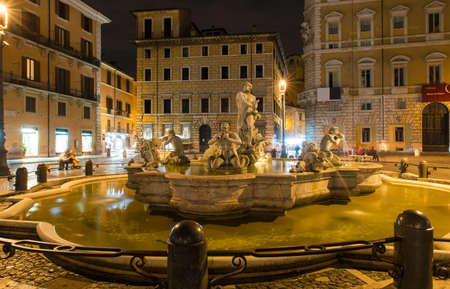 mannerism: Northward view of the Piazza Navona with the fontana del Moro  the Moor Fountain  in Rome, Italy
