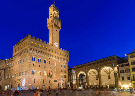 Night view of Piazza della Signoria and Palazzo Vecchio in Florence  Italy