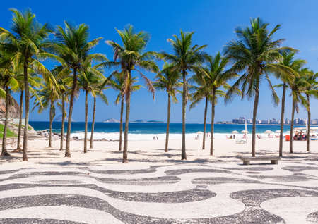 View of Copacabana beach with palms and mosaic of sidewalk in Rio de Janeiro Reklamní fotografie - 24034965