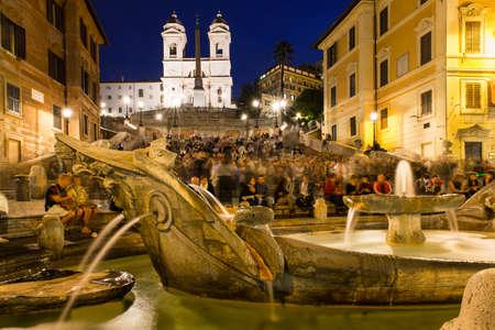 piazza: Square Piazza di Spagna, Fountain Fontana della Barcaccia in Rome, Italy Stock Photo