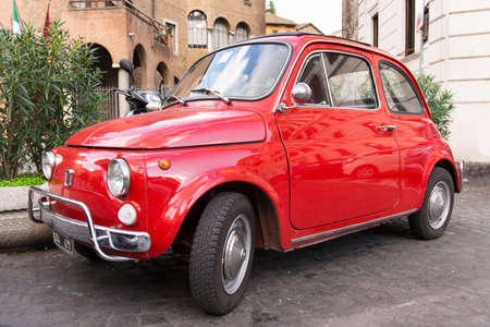 Fiat 500 parked in Rome, Italy