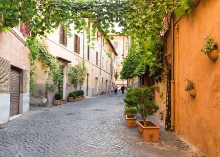 rome italy: Old street in Trastevere in Rome, Italy