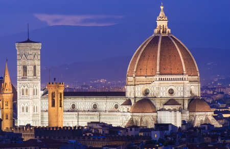 maria: Night aerial view of Cathedral of Santa Maria del Fiore  Duomo in Florence, Italy  Stock Photo