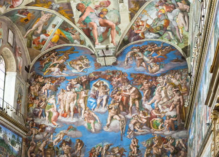 famous paintings: Fresco on the wall in the Vatican Museums, Rome