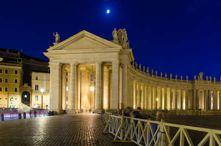 peter: Nigth view of Ð¡olonnade on Saint Peter s Square in Rome, Italy