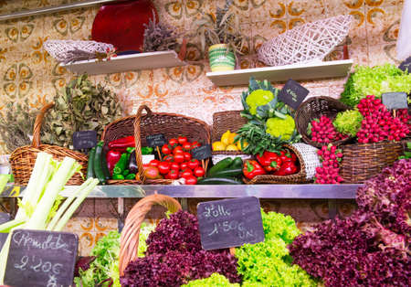 La Boqueria market with vegetables and fruits in Barcelona, Spain photo