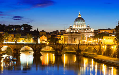 peter: Night view of Basilica St Peter and river Tiber in Rome in Italy