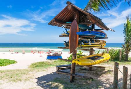 Surfboards on the beach in Rio de Janeiro Brazil