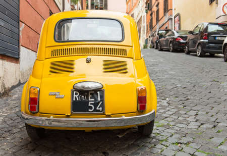 Fiat 500 parked in Rome, Italy  Editorial