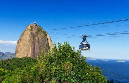 The cable car to Sugar Loaf in Rio de Janeiro  Brazil