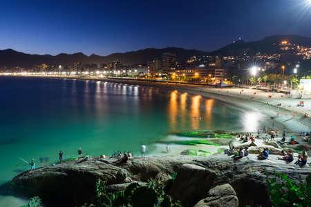 Night view of Ipanema in Rio de Janeiro, Brazil Stock Photo