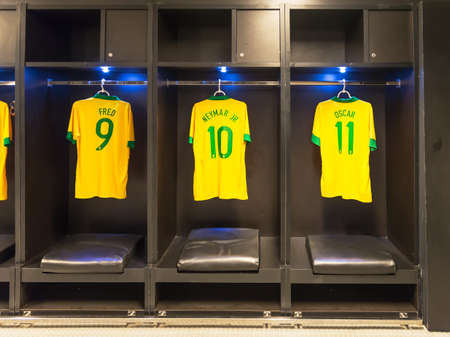 Uniforms of Neymar, Fred, Oscar of Brazil national football team, Rio de Janeiro  Editorial