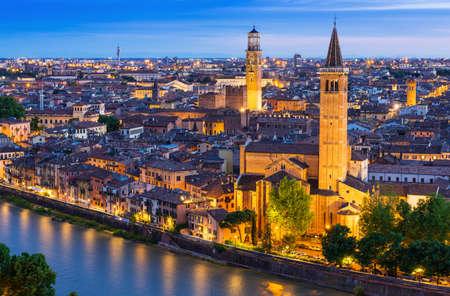 Night aerial view of Verona, Italy photo
