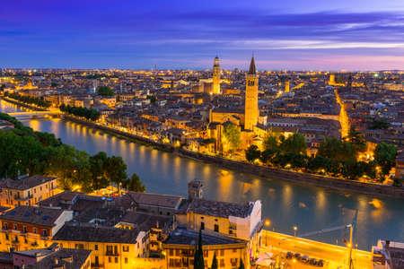 Night aerial view of Verona, Italy