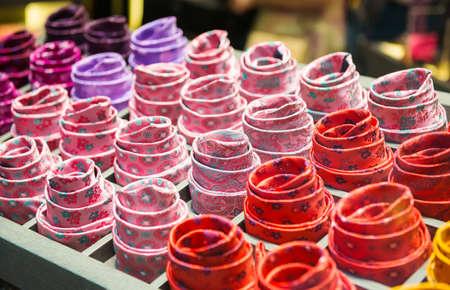 shopwindow: Ties on the shopwindow of a shop in Milan, Italy