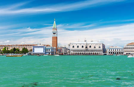 curch: Campanile and Doge s palace on Saint Marco square, Venice, Italy