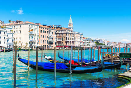 Grand Canal with gondolas in Venice, Italy