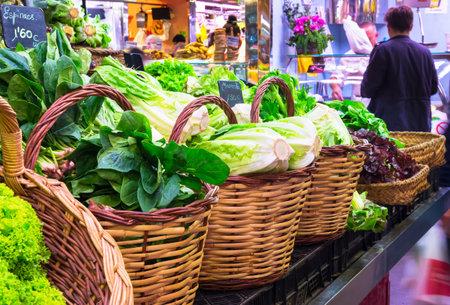 spinage: La Boqueria market with vegetables in Barcelona, Spain