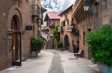 spanish architecture: Poble Espanyol - traditional architectures in Barcelona, Spain Editorial