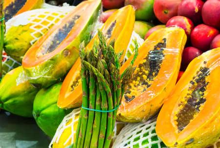 La Boqueria market with fruits in Barcelona, Spain photo