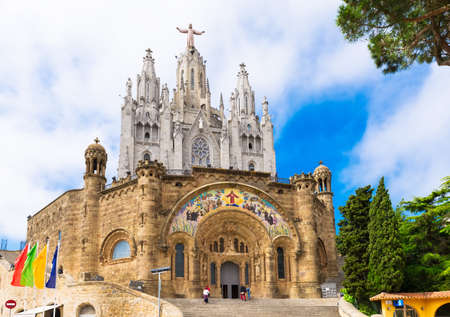 sacred heart: Church of Sacred Heart of Jesus on Tibidabo in Barcelona, Spain