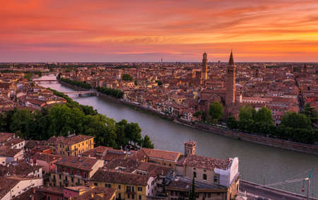 Sunset aerial view of Verona. Italy
