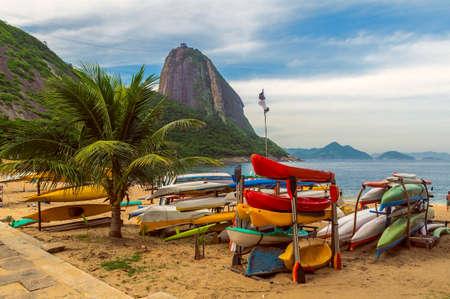 sugar: Mountain Sugar Loaf and Red beach in Rio de Janeiro. Brazil Stock Photo