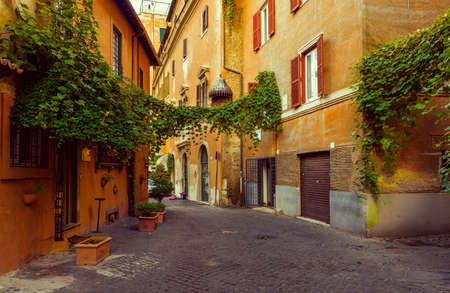 Old street in Trastevere in Rome, Italy