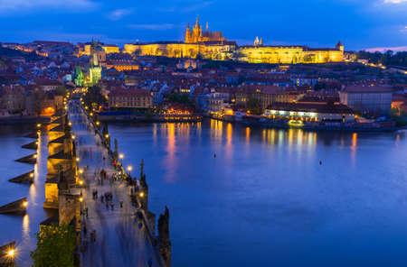 st charles: Charles Bridge, Prague  , Vltava river in Prague at night. Czech   Stock Photo