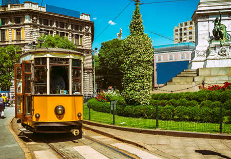 Vintage tram on the street in Milan, Italy 스톡 콘텐츠