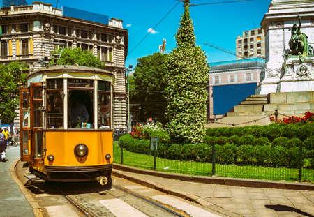 Vintage tram on the street in Milan, Italy Foto de archivo