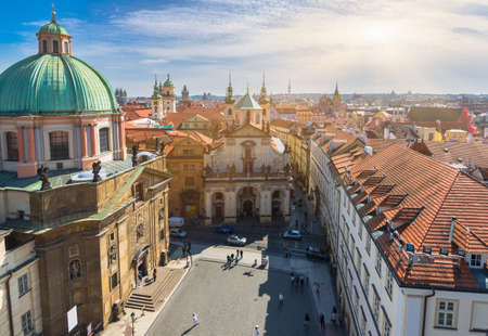 unesco in czech republic: Aerial view of Old Town in Prague. Czech Republic Stock Photo